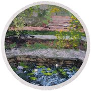 Pond In The English Walled Gardens Round Beach Towel