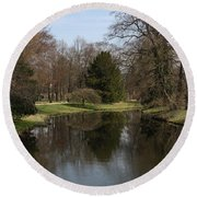 Pond In The Park Round Beach Towel