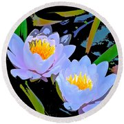 Pond Lily 17 Round Beach Towel