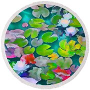Pond Lily 5 Round Beach Towel