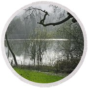 Pond Near Home Farm - Ilam Round Beach Towel