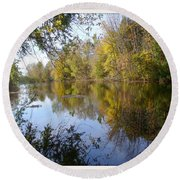 Pond Reflection At Limehouse Ontario Round Beach Towel