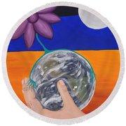Pondering Creation Hand And Globe Round Beach Towel