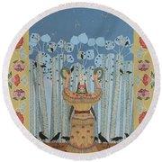 Pondering Sacred Things - Manitoweyitamowin Round Beach Towel