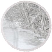 Pondside Thaw Round Beach Towel