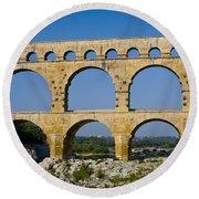Pont Du Gard  Round Beach Towel