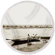 pont George V Bridge over Loire river Orleans Loire Valley France 1900 Round Beach Towel