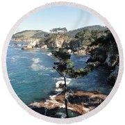 Pont Lobos Cove Round Beach Towel