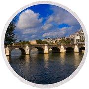 Pont Neuf Over The Seine River Paris Round Beach Towel