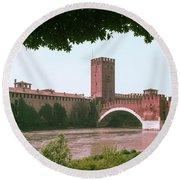 Pont Scaligero On Adige River Round Beach Towel