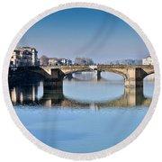 Ponte Santa Trinita Florence Italy Round Beach Towel