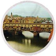 Ponte Vecchio 2 Round Beach Towel by Ellen Henneke
