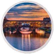 Ponte Vecchio At Sunset Round Beach Towel