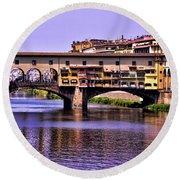 Ponte Vecchio Bridge - Florence Round Beach Towel