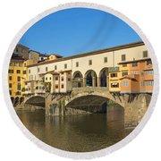 Ponte Vecchio Bridge In Florence Round Beach Towel