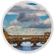 Ponte Vecchio Clouds Round Beach Towel by Inge Johnsson