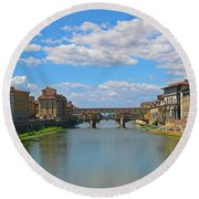 Ponte Vecchio Over The Arno River At Florence Italy Round Beach Towel