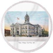 Pontiac Michigan - Ponitiac Court House - 1910 Round Beach Towel