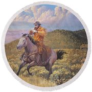 Pony Express Rider At Look Out Pass Round Beach Towel