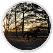 Pony's Evening Pasture Trot Round Beach Towel