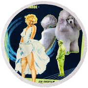 Poodle Art - The Seven Year Itch Movie Poster Round Beach Towel