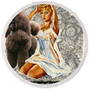 Poodle Art - Una Parisienne Movie Poster Round Beach Towel