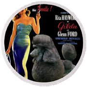 Poodle Standard Art - Gilda Movie Poster Round Beach Towel