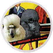 Poodle Standard Art - Love Is My Profession Movie Poster Round Beach Towel