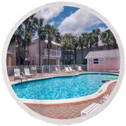 Pool And Cottages Round Beach Towel