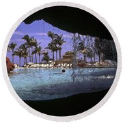 Pool And Palms Round Beach Towel