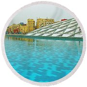 Pool And Roof Of Alexandria Library-egypt  Round Beach Towel