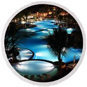 Pool At Night Round Beach Towel