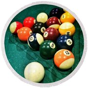 Pool Balls Round Beach Towel by Carlos Caetano