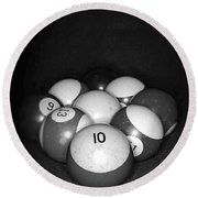 Pool Balls In Black And White Round Beach Towel
