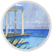 Pool Cabana Morning Round Beach Towel