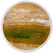 Pool In Upper Geyser Basin In Yellowstone National Park Round Beach Towel