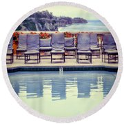 Pool With Views Of The Ocean Round Beach Towel