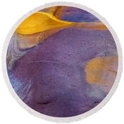 Pools Of Gold Round Beach Towel