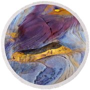 Pools Of Gold II Round Beach Towel