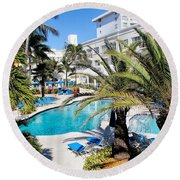 Poolside 01 Round Beach Towel