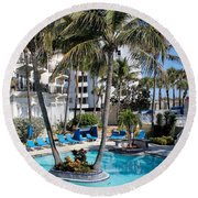 Poolside 02 Round Beach Towel