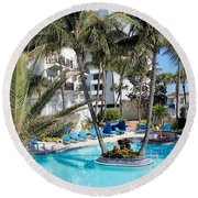 Miami Beach Poolside 03 Round Beach Towel