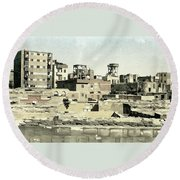 Poor Suburb Of The City Oil Painting On Burlap Round Beach Towel