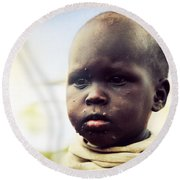 Poor Young Child Portrait. Tanzania Round Beach Towel