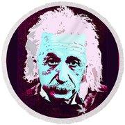 Pop Art Einstein No 3 Round Beach Towel