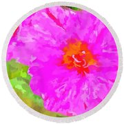 Pop Art Floral Round Beach Towel