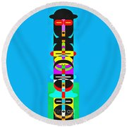 Pop Art People Totem 7 Round Beach Towel