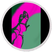 Pop Art Shoes In Pink Round Beach Towel