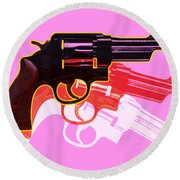 Pop Handgun Round Beach Towel by Gary Grayson