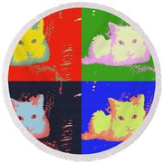 Pop Kitty Round Beach Towel